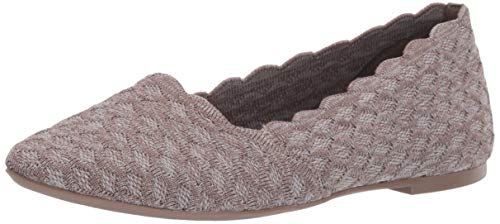 Skechers Women's Cleo-Scalloped Knit Skimmer Ballet Flat, Dark Taupe, 10 M US