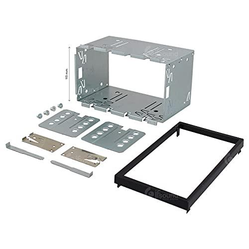 Gabbia autoradio 2 din 2 ISO misure standard telaio autoradio universale in metallo con cornice, gabbia doppio din, altezza 113 mm