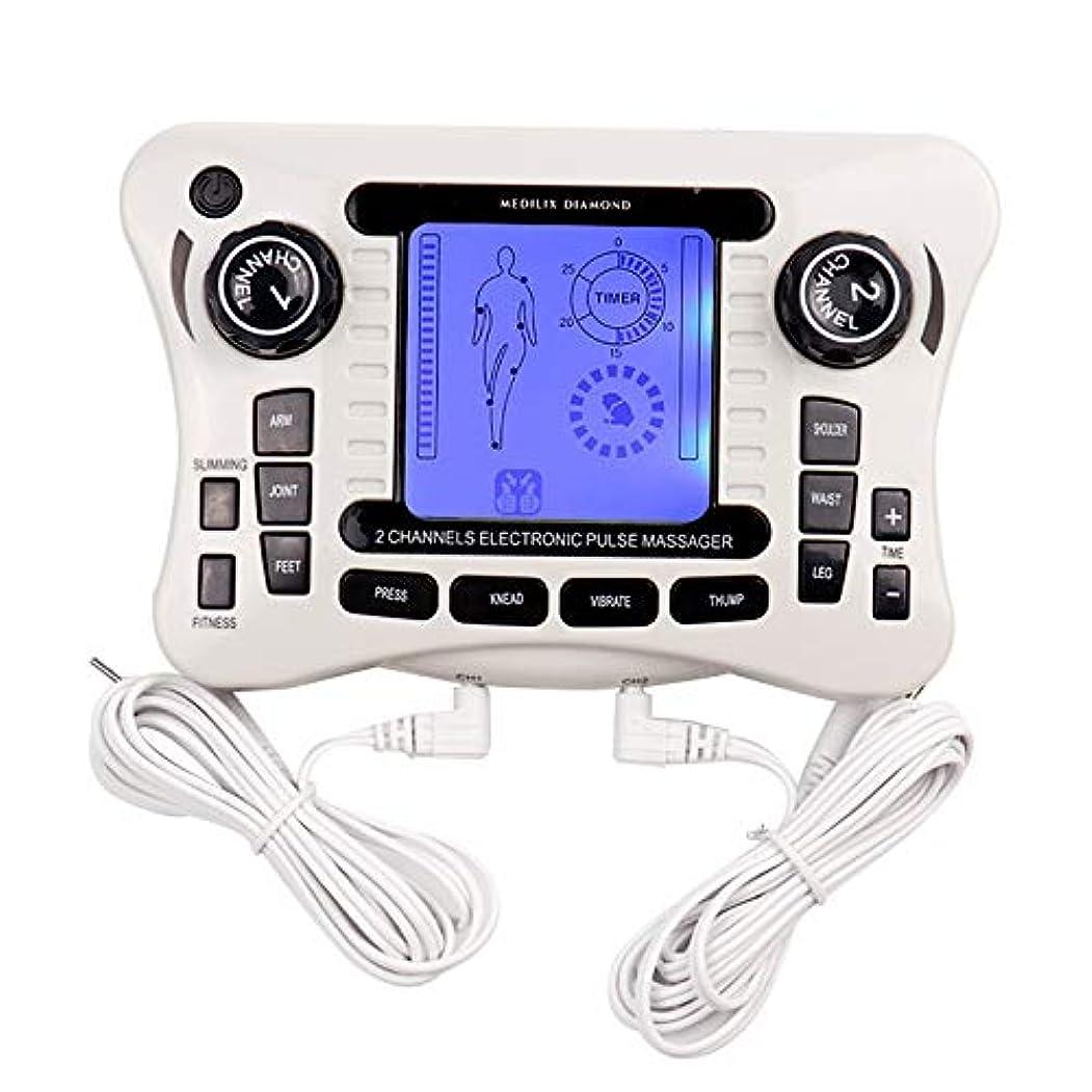 バランスのとれたトレード軍艦電子パルスマッサージャー/十emsトレーナーボディマッサージャー筋肉刺激装置バックボディネックマッサージデュアルチャンネル療法機