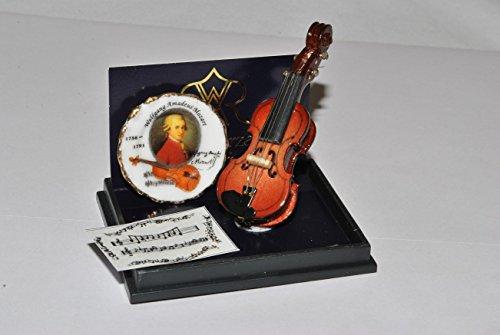 alles-meine.de GmbH Miniatur Violine Mozart - Maßstab 1:12 Porzellan / Kermik - Reutter - Puppenhaus - für Puppenstube - Musikinstrument Geige Musik / Geigen Instrument Instrumen..