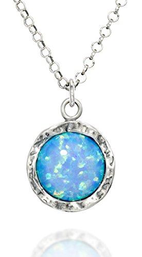 Stera Jewelry - Collar de plata de ley con colgante redondo de ópalo azul o blanco de 10 mm