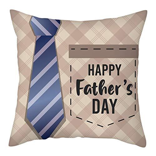Funda de almohada de 26 x 26 pulgadas, colorida funda de almohada para el día del padre con patrón de lazo para el hogar sofá decorativo funda de almohada # 6