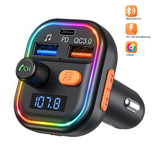 Bluetooth 5.0 FM Transmitter Auto Radio Adapter, PD 18W & QC 3.0 Schnellladung Ladegerät, Deep Bass Radio Transmitter mit 9 LED Farblicht, KFZ MP3 Player Kit Unterstützt 64GB USB-Stick TF Karte, Siri