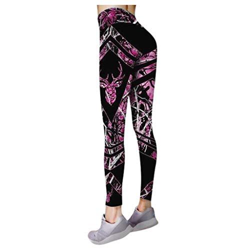 Andouy Damen Mode Gedruckte Yoga Leggings Yoga Capris Lang Hosen Kompression Sport Trainingshose(3XL.Lila-1)