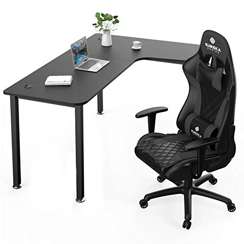 EUREKA ERGONOMIC Gaming Computer Desk and Chair Set L Shaped with Free Mousepad, Multi-Functional and Hight Adjustable Chair for Pc Gaming Home Office, Right Side, Black