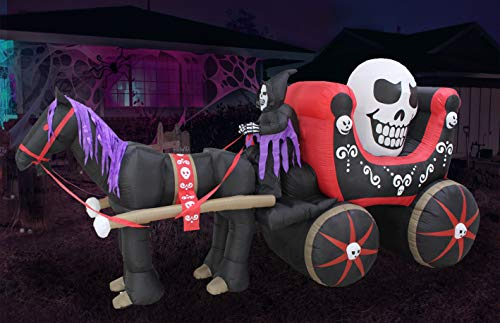 Halloween Inflatable Horse Carriage with Skeleton and Skull