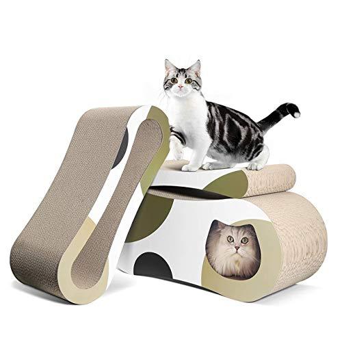 MAFANG Rascador para Gatos, Tablero Rascador para Gatos con Hierba Gatera, Nido para Gatos, Juguetes para Gatos, Alfombrillas para Rascar De Cartón Corrugado, Rascador Reciclable, Cartón De Calidad
