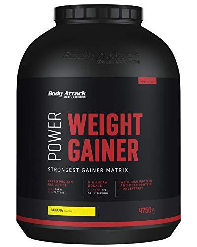Body Attack Power Weight Gainer (aumento de peso), Plátano, 4,75 kg, 100% desarollo masa, carbohidrato- proteína en polvo para el aumento muscular con proteína de suero, ideal para Hardgainer