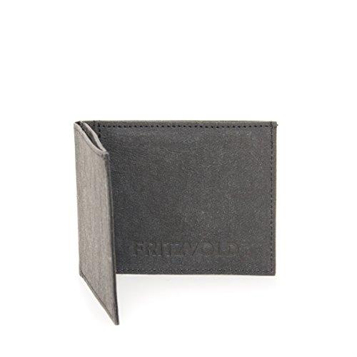 FRITZVOLD MINIMAL Wallet mit erweitertem Münzfach, kleines, dünnes Portemonnaie für Herren, extrem Flacher Geldbeutel, Slim Portmonee, Geldbörse aus waschbarem Papier-Kunstleder, schwarz
