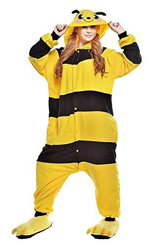 ABYED Donna Pigiama in pile Animalei Onesies Kigurumi novità Pigiama Costumi da notte di Halloween XL (175-181CM) Bee Giallo