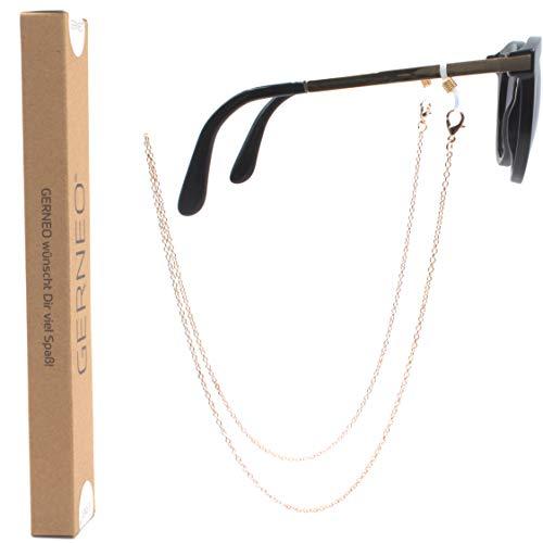 GERNEO - DAS ORIGINAL - Premium Brillenkette & Brillenband in diversen Farben - 18 Karat vergoldet in Rose - Unisex für Lesebrille & Sonnenbrille - Kollektion 2020