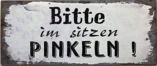 Deko7 Blechschild 30 x 13 cm Bitte im sitzen Pinkeln