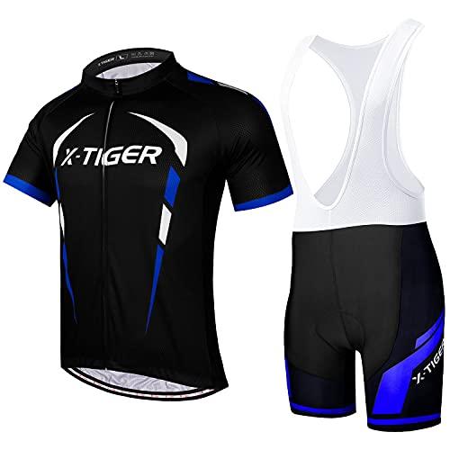 X-TIGER Maillot de ciclismo para hombre de manga corta + pantalones cortos...