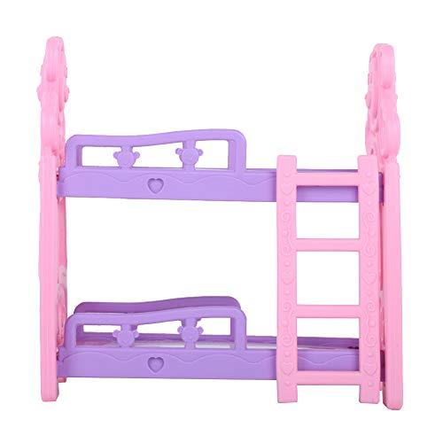 Denkerm Mini Muebles, Superficie Limpia sin Rebabas Considerada e Interesante Cama de casa de muñecas Delicada y de Moda, los niños viajan a casa para niñas(Queen bunk Bed Type B)