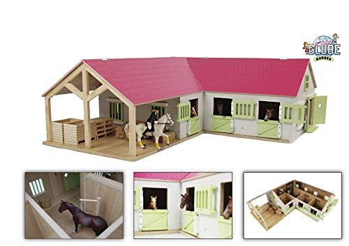 Van Manen Kids Globe Horses Pferdehof aus Holz - Maßstab 1:24, pink, mit beweglichen Türen, Fenster und Dach – 610210