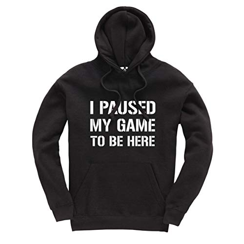 I Paused My Game to Be Here Funny Gamer Unisex Bambini Adulti Felpa Gaming Jumper Nero XX-Large
