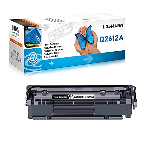 LOSMANN 1x Toner Compatible para Q2612A 12A FX9 FX10 CAN703 para HP Laserjet 1010 1012 1015 1018 1020 1022 1022N 1022NW 3015 3015AIO 3020 3020AIO 3030 3030AIO 3050 3050Z 3052 3055 M1005MFP M1319FMFP