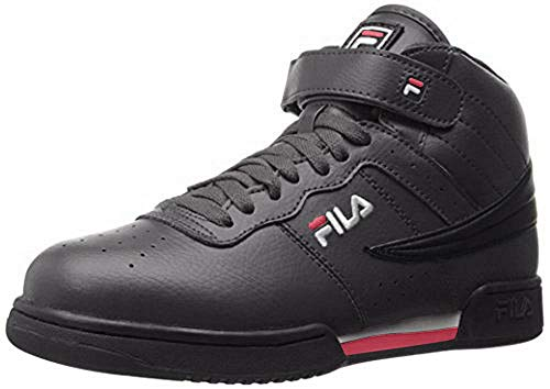 Fila Men's f-13v lea/syn Fashion Sneaker, Black/White Red, 12 M US