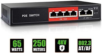 $22 » AI PoE Switch,52V 65W (4 POE Ports +2 Uplink)100Mbps,802.3af/at,Unmanaged Network Extender Power Over Ethernet for IP,Exte...