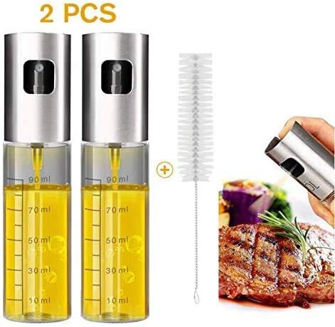 Olienevel dispenser, azijn verstuiver, spray met dressing borstel, draagbare, roosteren olijfolie glazen fles van 100 ml, premium 304 roestvrij staal, voor de keuken, koken, salade, brood, bakken