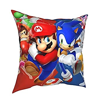 Super Ma_Rio Vs Sonic The Hedgehog Throw Pillow Covers Home Decoration Square 18 X18 ,Double-Sided Printing Pillowcase Suit for Sofa Couch Bed and Car