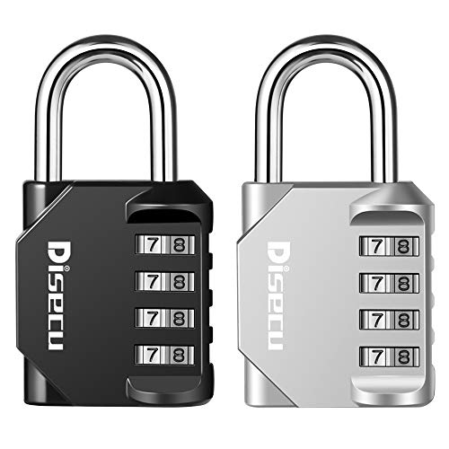 Disecu 4 Digit Combination Lock Outdoor Waterproof Padlock for Luggage, Gym Locker, Cabinet, Gate (Black and Silver, Pack of 2)