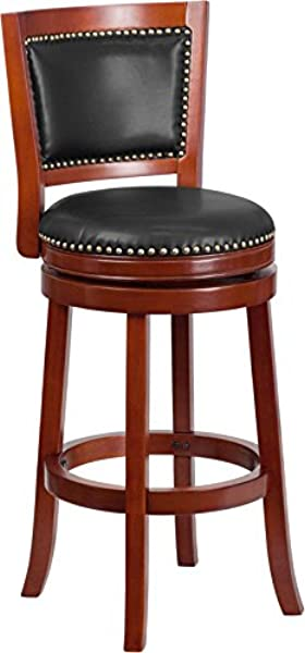 Emma Oliver 30 H Dark Cherry Wood Barstool With Swivel Seat