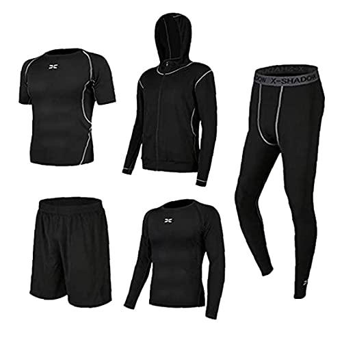 Tuimiyisou Pantalones de Entrenamiento Running Hombre Ropa de Equipo de Fitness Ropa Gimnasio al Aire Libre Top de la Camisa de Manga Larga Running Kit de chándal de Deportes Negro S 5PCS