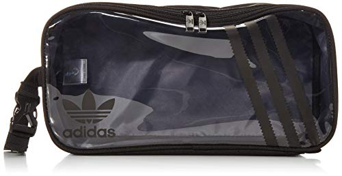 adidas Originals Unisex Clear 3-Stripes Shoe Bag, Black/Clear, ONE SIZE