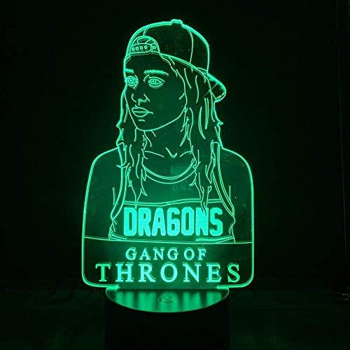3D diapositiva luz LED noche una canción de hielo y fuego American TV Series Daenerys Targaryen Stormborn Dragon Queen Sensor decorativo óptico