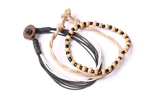 Conjunto de tres pulseras para hombre, color beige, negro y blanco, cuerdas y cuentas para uso diario, elegante accesorio étnico bohemio (T601)