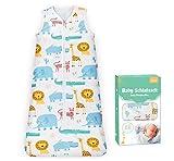 Adorfine Schlafsack Baby Sommerschlafsack 0.5 Tog Babyschlafsack aus atmungsaktiver Baumwolle Löwe Giraffe Schlafsack Einstellbar 90-110cm Kleine Kinder Schlafanzug für Neugeborene 18-36 Monate