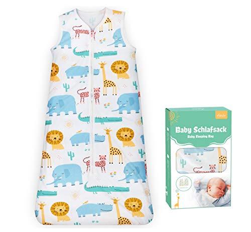 Adorfine Baby Schlafsack Sommer für Kleinkinder 0.5 Tog 100% Baumwolle Baby Sommerschlafsack für Jungen und Mädchen, Einstellbar 90-110cm Kleine Kinder Schlafanzug 3-18 Monate