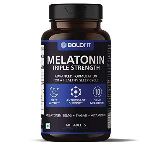 Boldfit Melatonin 10mg Supplement For Men & Women With Tagar 250mg & Vitamin B6 2mg - 60 Vegetarian Tablets