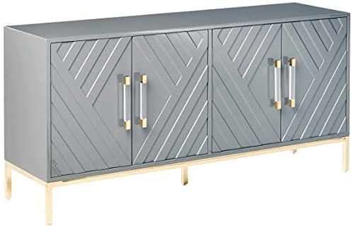 Best Master Furniture Tamari High Gloss Lacquer Sideboard/Buffet, Grey
