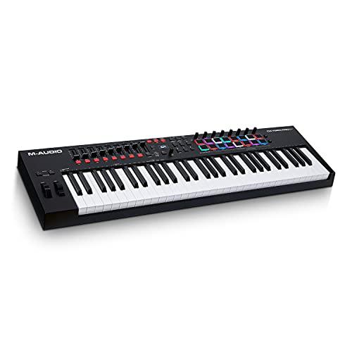 M-Audio Oxygen Pro 61 - Teclado controlador MIDI USB de 61 teclas con pads de ritmos, perillas, botones y atenuadores asignables y pack de software