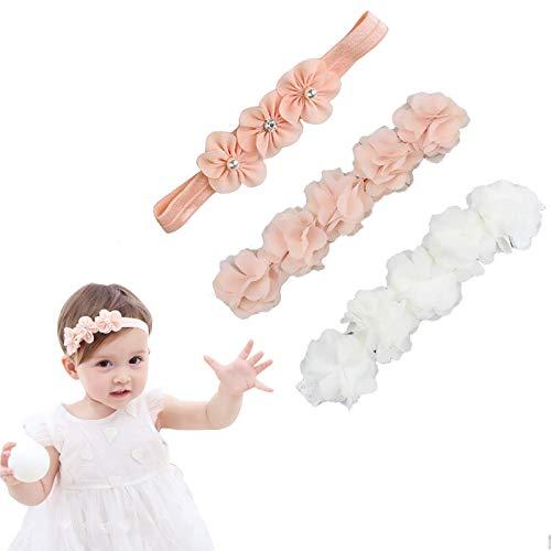 Ripsband für Kleine Mädchen,Baby Mädchen Kids Turban Haarband Stirnband Kopfband Baby schmuck, Kopfband Baby Schmuck Blumen,Blumen-Stirnband Kleine Mädchen(3 Stück)