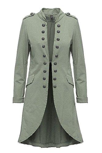 Madonna Damen Blazer Damenjacke Admiral Jacke Military Army Style Lang S -XXL XXXL (Khaki, XXL /44)