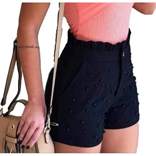 Pantalones Cortos Personalizados para Mujer, Cintura Alta, Perlas Delgadas con Orejas de Madera, diseño único, Color sólido, Tendencia de Moda, Pantalones Cortos Casuales Medium