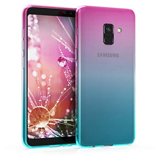 kwmobile Étui de Protection Compatible avec Samsung Galaxy A8 (2018) - Coque Souple en Gel Silicone - Dégradé Transparent - Tons Pastel Fuchsia-Bleu-Transparent