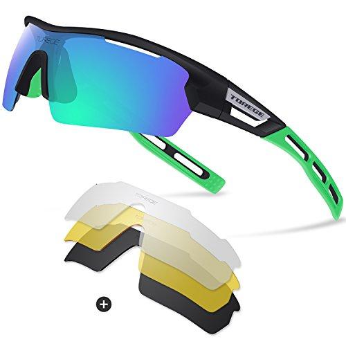 Gafas de sol deportivas polarizadas, de Torege, TR033, unisex, para ciclismo, correr, pesca, golf , White/Black tips&Red lens