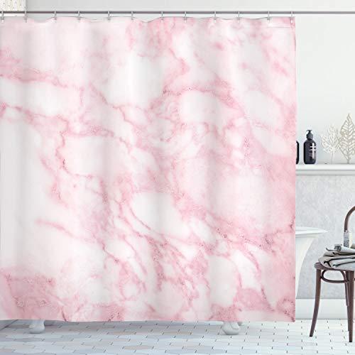 ABAKUHAUS Marmor Duschvorhang, Weiche Granit Textur, mit 12 Ringe Set Wasserdicht Stielvoll Modern Farbfest & Schimmel Resistent, 175x180 cm, Hellrosa