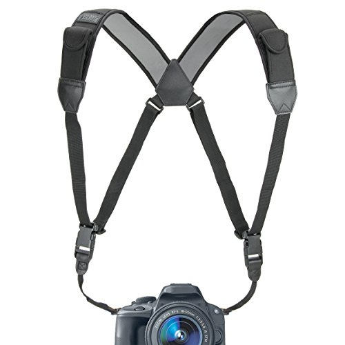 USA GEAR DSLR Camera Strap Chest Harness with Quick Release Buckles, Black Neoprene Pattern and Accessory Pockets - Compatible with Canon, Nikon, Sony and More Point and Shoot and Mirrorless Cameras