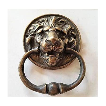 Brass Door Knocker Lions Head Ring Architectural Gorgeous Reclaimed 7.48