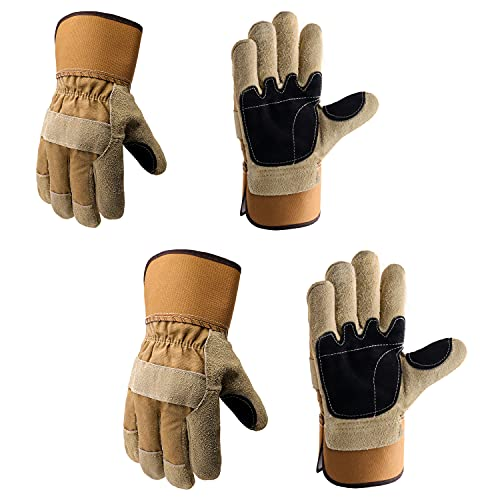 2 Pairs Leather Work Gloves, Men & Women Cowhide Heavy Duty Work Gloves with Safety Cuff, Industrial Work Gloves Welding Gardening Driving Gloves