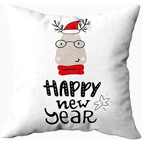 Mesllings Fundas de almohada de 40 x 40 cm, diseño de ciervo de Papá Noel dibujadas a mano para niños Año Nuevo Vector fundas de almohada para el hogar