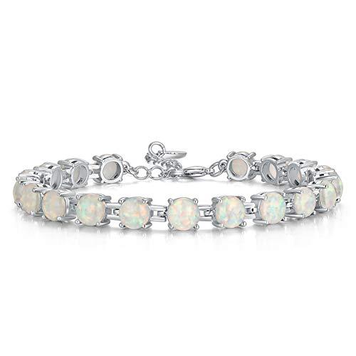 CiNily Rhodium Plated Fire Opal Women Jewelry Gemstone Bracelet 7'-8 1/2' white