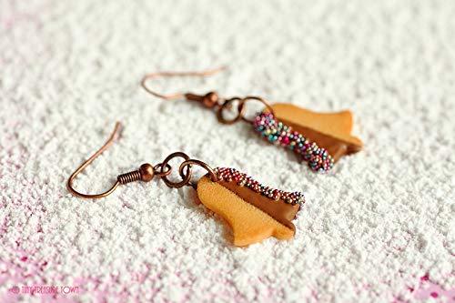 Handgemachte Keks-Ohrringe aus Polymer Clay - Glocken mit Vollmilch-Schokolade und bunten Streuseln