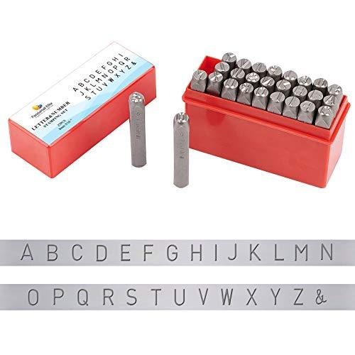 PandaHall Juego de 27 sellos de metal con letras y amperios, 8 mm, alfabeto A-Z, símbolo y letras en mayúsculas de hierro, herramienta de prensa para imprimir en metal, joyas, cuero, madera