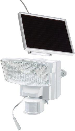 Brennenstuhl 1170850 Faretto solare a LED 350 lm SOL 80 plus IP44 con segnalatore di movimento ad infrarossi 8xLED, cavo 4,75m, colore BIANCO